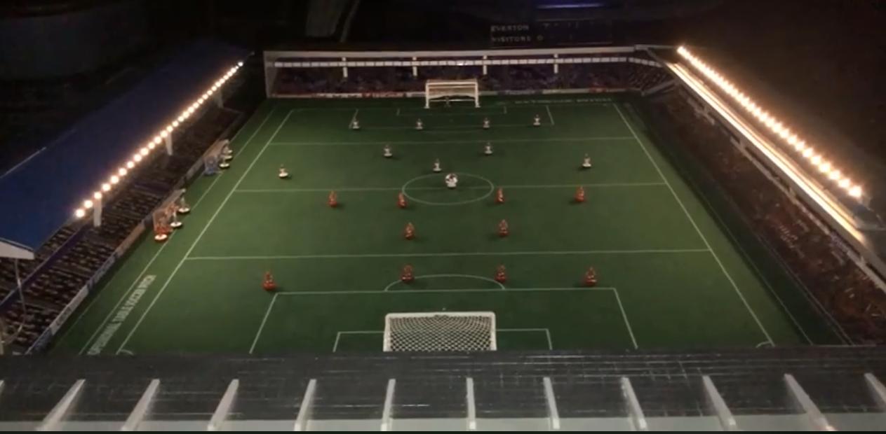This man has a perfect Goodison Park replica for his Subbuteo stadium