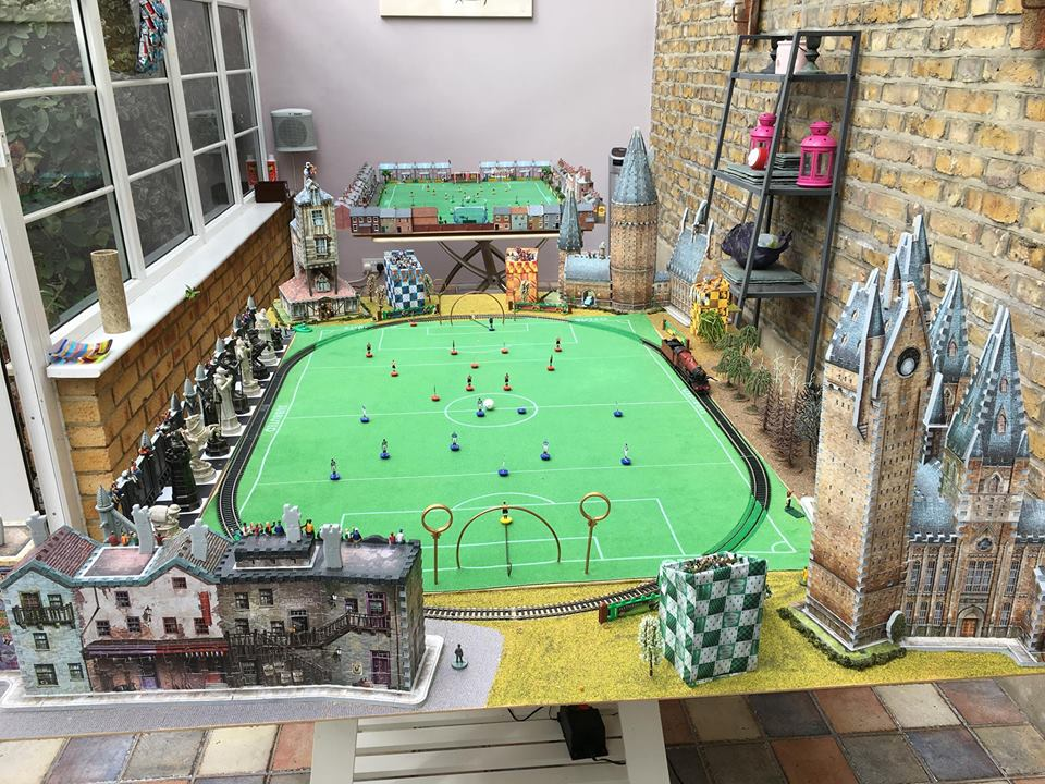 Somebody has built a Subbuteo Quidditch stadium complete with Hogwarts Express