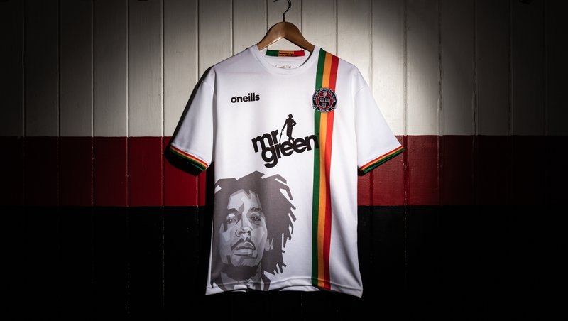 The new Bohemians away kit features Bob Marley's face