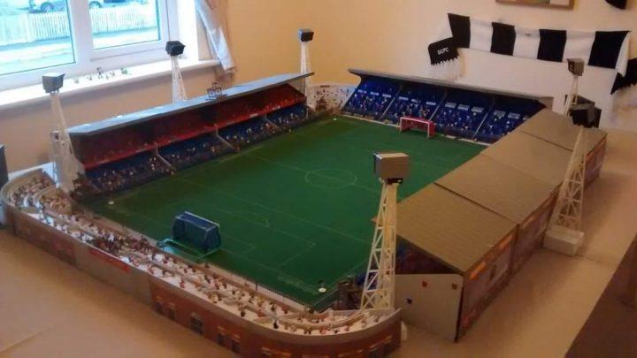 This classic Subbuteo stadium is a child's dream build