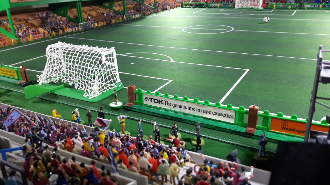 Take a look at a beautifully detailed Subbuteo stadium with a Scottish twist