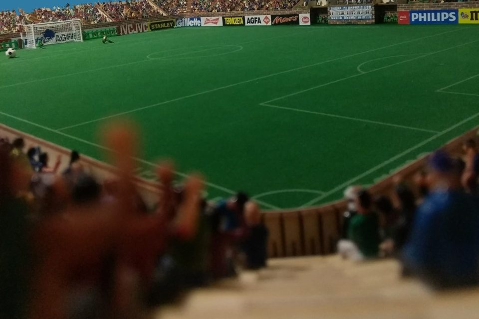 Inside the retro-style Subbuteo stadium that looks like the real thing
