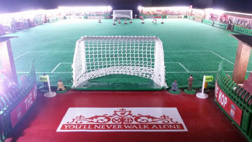 Subbuteo stadium recreates Anfield under the floodlights