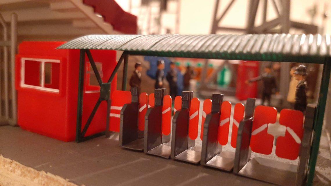 A Subbuteo stadium with realistic turnstiles