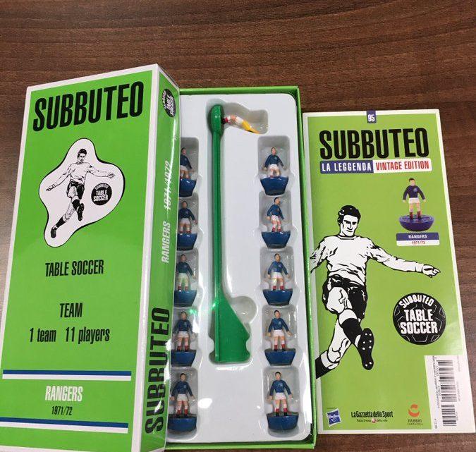 Rangers coach celebrates Subbuteo surprise