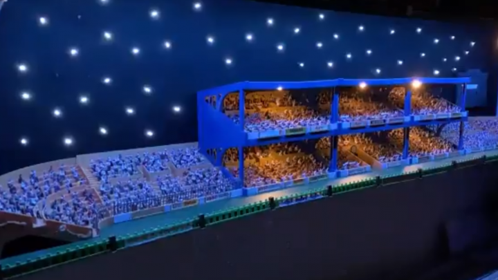 The Subbuteo stadium with a spectacular light show