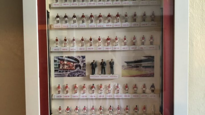 A stunning Arsenal Subbuteo display features every home kit ever worn by the club