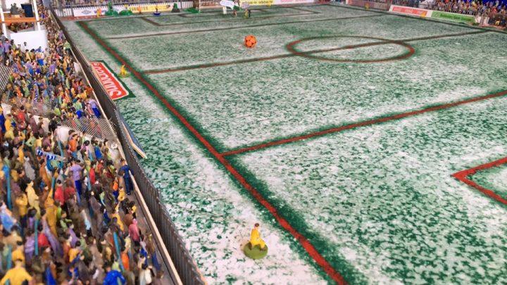 The Subbuteo winter pitch looks amazing in a stadium build
